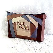 Сумки и аксессуары handmade. Livemaster - original item Cosmetic bag Blueberry chocolate chocolate-beige gift for woman. Handmade.