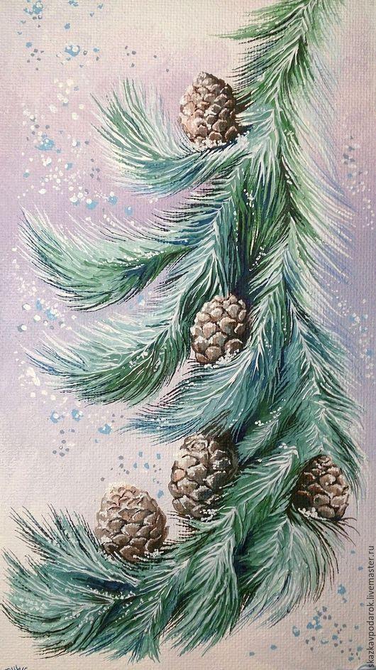 """Пейзаж ручной работы. Ярмарка Мастеров - ручная работа. Купить картина """"Цветы Зимы"""". Handmade. Картина в подарок, шишки, для интерьера"""