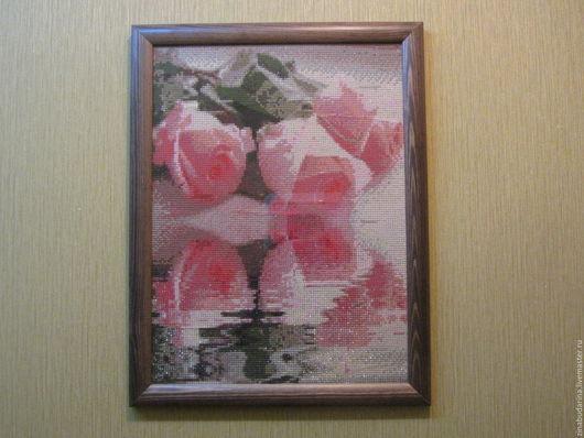 Картины цветов ручной работы. Ярмарка Мастеров - ручная работа. Купить Розы с отражением.. Handmade. Цветы, натюрморт, розовый