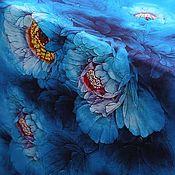 Материалы для творчества handmade. Livemaster - original item Natural silk satin, Celestial peonies. Handmade.