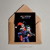 """Открытки ручной работы. Ярмарка Мастеров - ручная работа Открытка почтовая """"Харли & Джокер"""" с крафт конвертом. Handmade."""