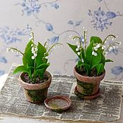 Miniature figurines handmade. Livemaster - original item Lilies of the valley in pot scale 1: 12. Handmade.