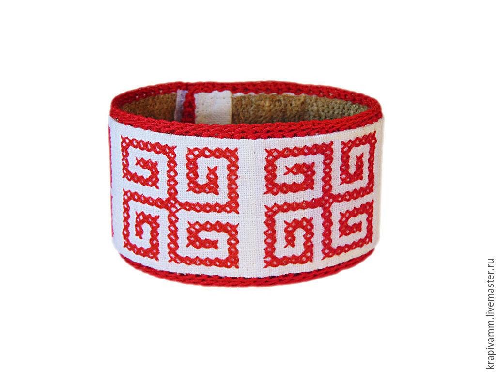 Bracelet from nettles embroidered Peace swastika, Folk decorations, Orel,  Фото №1