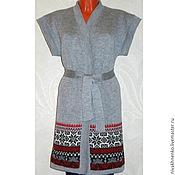Одежда ручной работы. Ярмарка Мастеров - ручная работа Вязаный длинный жилет-кимоно с норвежским орнаментом. Handmade.