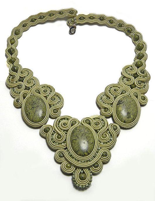 Necklaces & Beads handmade. Livemaster - handmade. Buy choker Caramel (pistachio).Soutache, soutache embroidery, czech beads, quartz