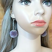Украшения handmade. Livemaster - original item Earrings POM poms gray 074. Handmade.