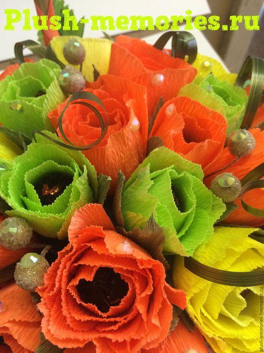 Букеты ручной работы. Ярмарка Мастеров - ручная работа. Купить Корзинка с розами из конфет. Handmade. Ярко-красный, Букеты из конфет