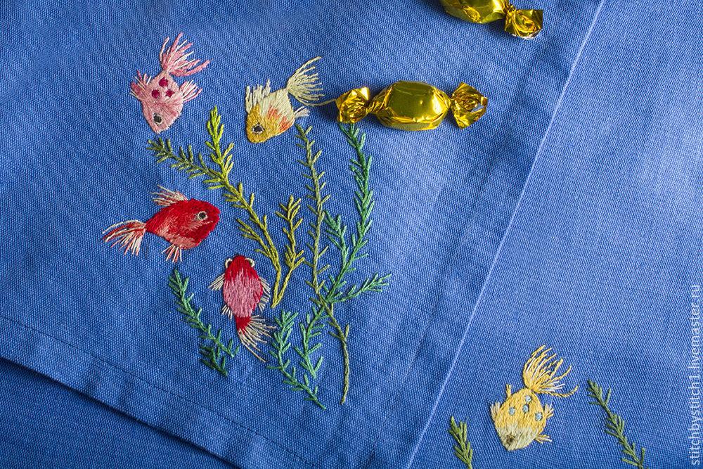 Вышивка гладью рыбки