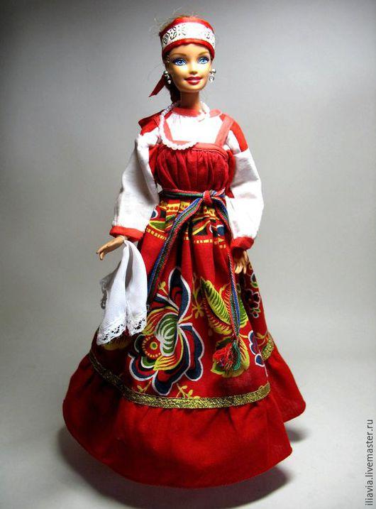 Одежда для кукол ручной работы. Ярмарка Мастеров - ручная работа. Купить Народный костюм  для куклы. Handmade. Золотой, коротена, атлас