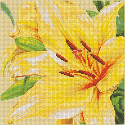 Схема для вышивания бисером `Желтая лилия` с полной зашивкой