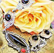 Колье винтажные ручной работы. Ярмарка Мастеров - ручная работа Старинное колье Charme оникс коралл серебро STERLING Англия. Handmade.