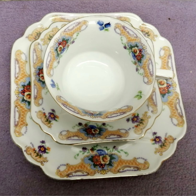 Vintage: Germany Bavaria Tea Cup saucer plate embossed porcelain, Vintage mugs, Moscow,  Фото №1