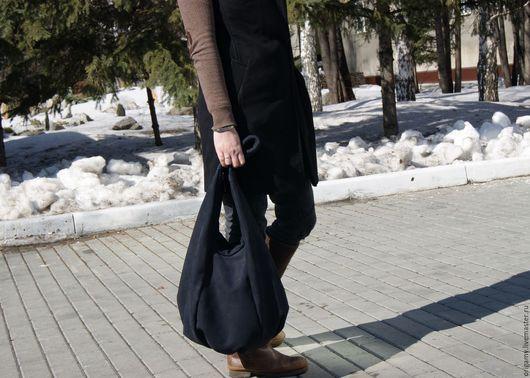 Женские сумки ручной работы. Ярмарка Мастеров - ручная работа. Купить сумка- мешок из натуральной замши темно синяя. Handmade.