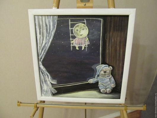 """Детская ручной работы. Ярмарка Мастеров - ручная работа. Купить Авторская картина для детской""""Сказки растущей луны"""". Handmade. Комбинированный"""