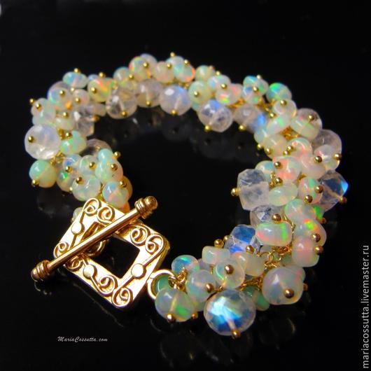 Браслеты ручной работы. Ярмарка Мастеров - ручная работа. Купить Опал браслет из натуральных камней эфиопского опала лунного камня. Handmade.