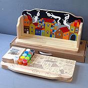 """Для дома и интерьера ручной работы. Ярмарка Мастеров - ручная работа Полка """"Домики-2"""" (набор с контурами и красками) для детской. Handmade."""
