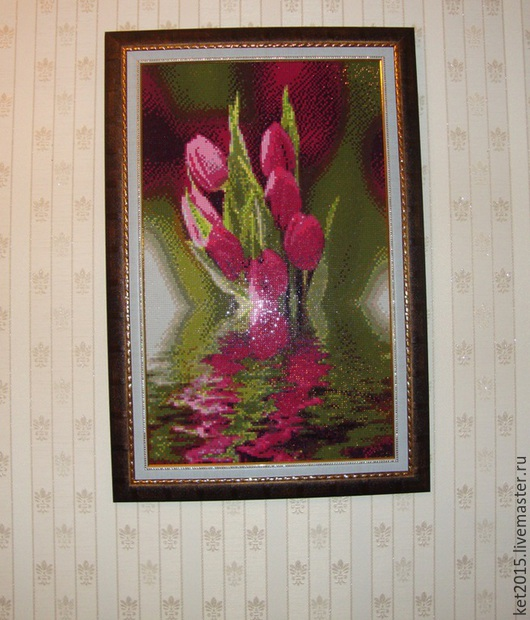 """Картины цветов ручной работы. Ярмарка Мастеров - ручная работа. Купить картина """"тюльпаны"""". Handmade. Разноцветный, картина, алмазная вышивка"""