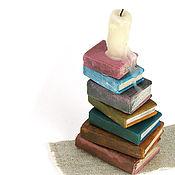 Куклы и игрушки ручной работы. Ярмарка Мастеров - ручная работа Стопка книг композиция кукольная миниатюра свеча. Handmade.