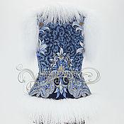 """Одежда ручной работы. Ярмарка Мастеров - ручная работа Жилет """"Морозко-24 """" с мехом белой ламы, из Павлопосадского платка. Handmade."""