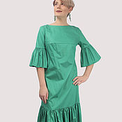 Одежда handmade. Livemaster - original item The dress is green with ruffles flounces on the sleeves and at the bottom. Handmade.