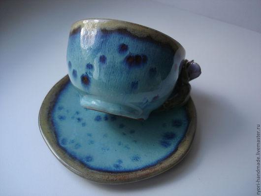 """Сервизы, чайные пары ручной работы. Ярмарка Мастеров - ручная работа. Купить Кофейная пара """"Звездопад"""". Handmade. Бирюзовый, глина"""