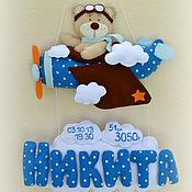 """Для дома и интерьера ручной работы. Ярмарка Мастеров - ручная работа Именное панно """"Мишка в самолете"""". Handmade."""