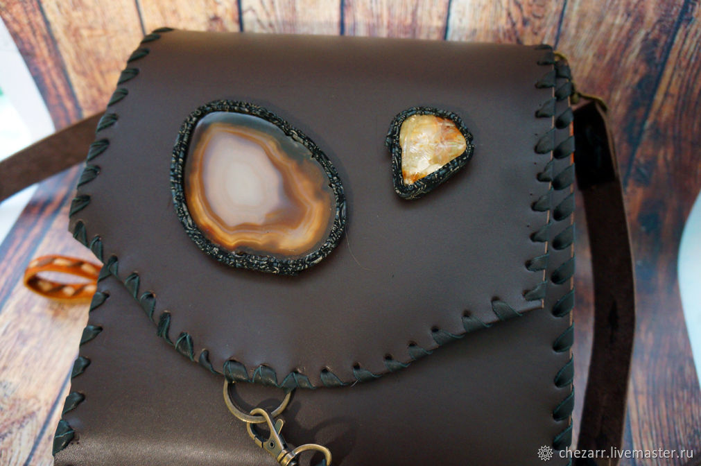 Women's leather bag with agate, Classic Bag, Chelyabinsk,  Фото №1