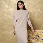 Одежда handmade. Livemaster - original item Jersey dress with sleeves beige. Handmade.