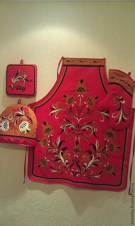 "Кухня ручной работы. Ярмарка Мастеров - ручная работа. Купить Набор для кухни""Хохлома""красная. Handmade. Фартук, салфетка"