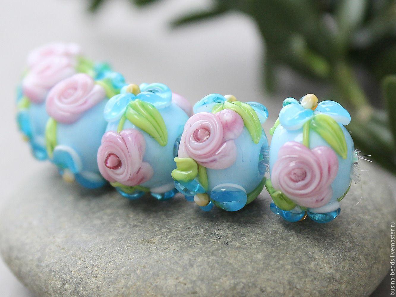 Бусины стеклянные ручной работы, выполненные в технике лэмпворк (lampwork)  Шикарные цветочные бусины лэмпворк синие  бусинки для ваших украшений