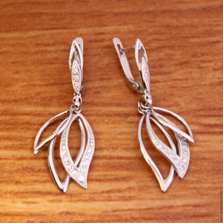 2a20a2c3ebe3 Серебряные серьги Лепестки, серебро 925 пробы – купить в интернет-магазине  на ...