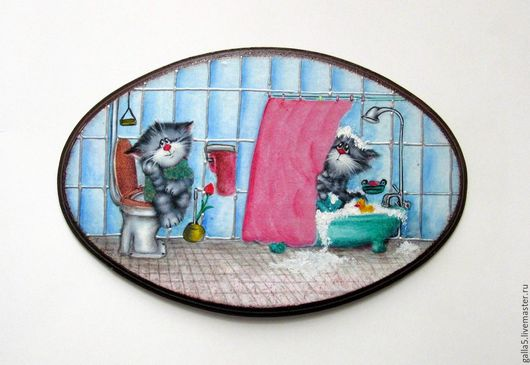Ванная комната ручной работы. Ярмарка Мастеров - ручная работа. Купить Бирочка на дверь ванно-туалетной комнаты-3. Декупаж.. Handmade.