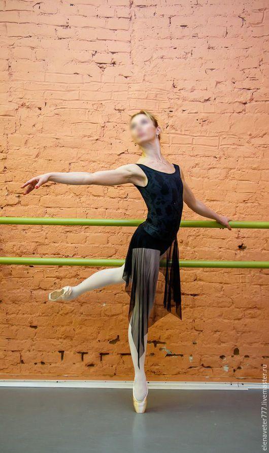 Танцевальные костюмы ручной работы. Ярмарка Мастеров - ручная работа. Купить Комплект: купальник с юбкой для хореографии, танцев. Handmade. Черный