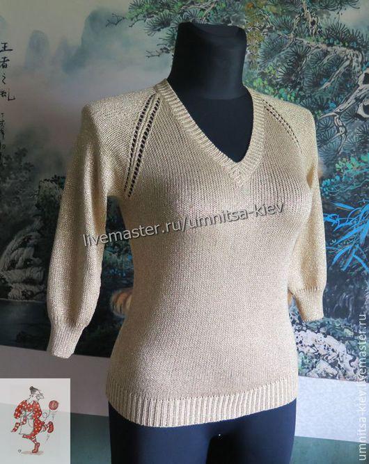 Фото. Вязаный летний пуловер `Золотой`. Хлопок с люрексом. V-образный вырез.