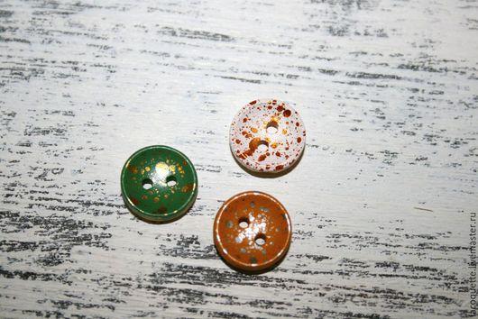 Шитье ручной работы. Ярмарка Мастеров - ручная работа. Купить 13 мм Пуговички деревянные в антикварном стиле 3 вида. Handmade.