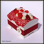 Свадебный салон handmade. Livemaster - original item Inkpad-a box for rings with roses. Handmade.
