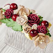 """Свадебный салон ручной работы. Ярмарка Мастеров - ручная работа гребень """"Какао с вином"""" кофейно-бордовый цветочный гребень невесты. Handmade."""