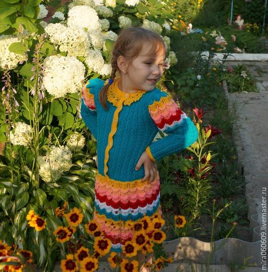 Одежда для девочек, ручной работы. Ярмарка Мастеров - ручная работа. Купить Платье для девочки. Handmade. Разноцветный, платье спицами