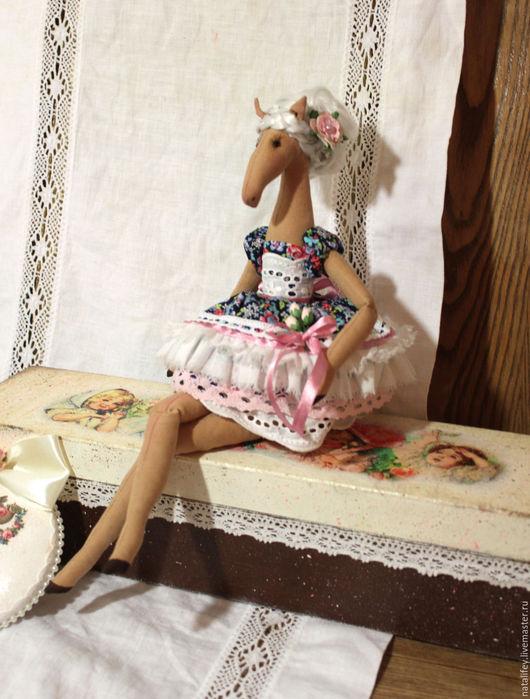 """Куклы Тильды ручной работы. Ярмарка Мастеров - ручная работа. Купить Тильда лошадка """"Пенелопа"""", текстильная кукла. Handmade. Синий"""