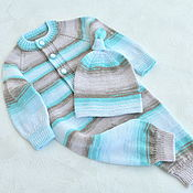Одежда детская handmade. Livemaster - original item A set for a newborn from a jumpsuit and a cap. 100% cotton. Handmade.