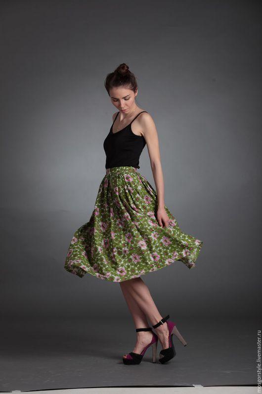 Юбки ручной работы. Ярмарка Мастеров - ручная работа. Купить Цветочная юбка. Handmade. Комбинированный, женская юбка