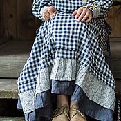 Одежда ручной работы. Ярмарка Мастеров - ручная работа Длинное льняное платье бохо в клетку с оборками.. Handmade.