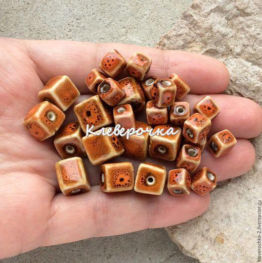 Для украшений ручной работы. Ярмарка Мастеров - ручная работа. Купить ..Керамика 7-10 мм оранжевый прямоугольные бусины для украшений. Handmade.