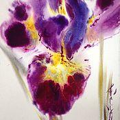 Картины и панно ручной работы. Ярмарка Мастеров - ручная работа Акварель Лаконичный фиолетовый Ирис. Handmade.