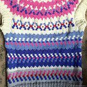 Одежда handmade. Livemaster - original item Knitted vest lopapeysa cashmere grey blue blue white pink. Handmade.