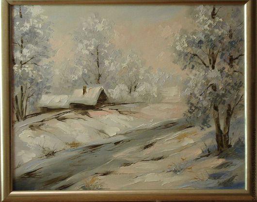 Пейзаж ручной работы. Ярмарка Мастеров - ручная работа. Купить зима в деревне. Handmade. Белый, картина, картина в подарок