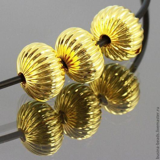 Бусины металлические из латуни формы рондель с ребристой поверхностью и покрытием имитирующим светлое золото для сборки украшений