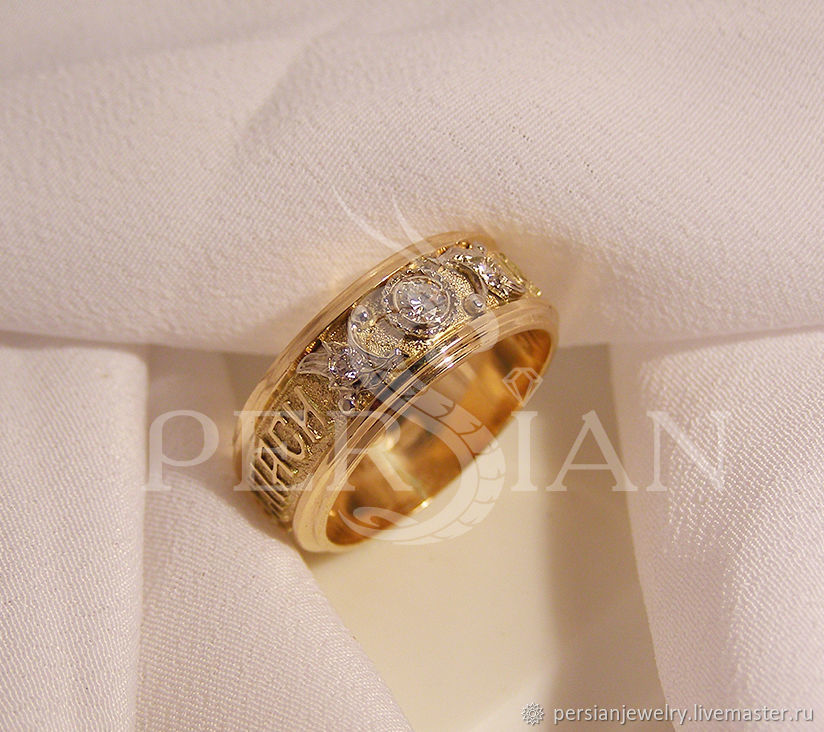 Engagement Golden ring with diamonds – shop online on Livemaster ...
