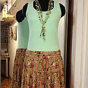 Одежда ручной работы. Ярмарка Мастеров - ручная работа Ярусная юбка из штапеля /букеты роз на ореховом/. Handmade.