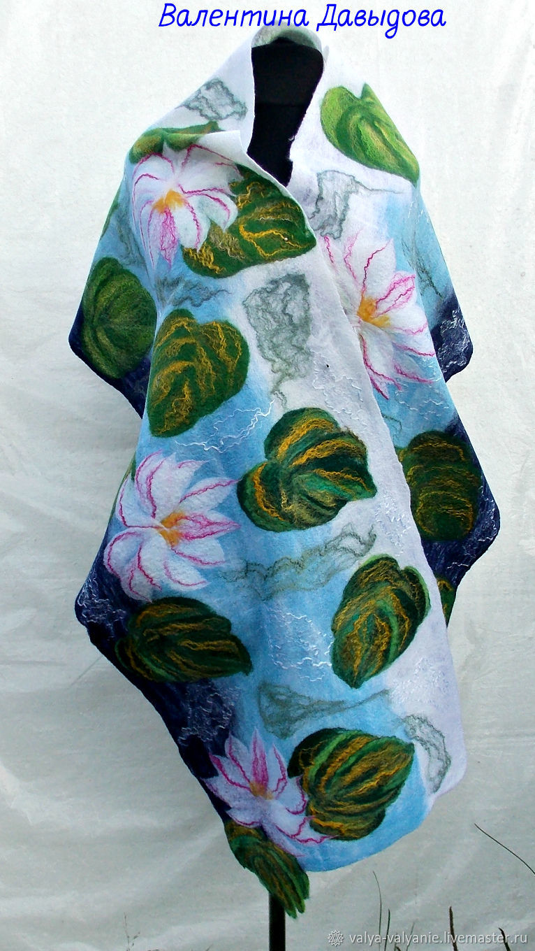 Tippet felted 'Lilies on a pond', Wraps, Barnaul,  Фото №1